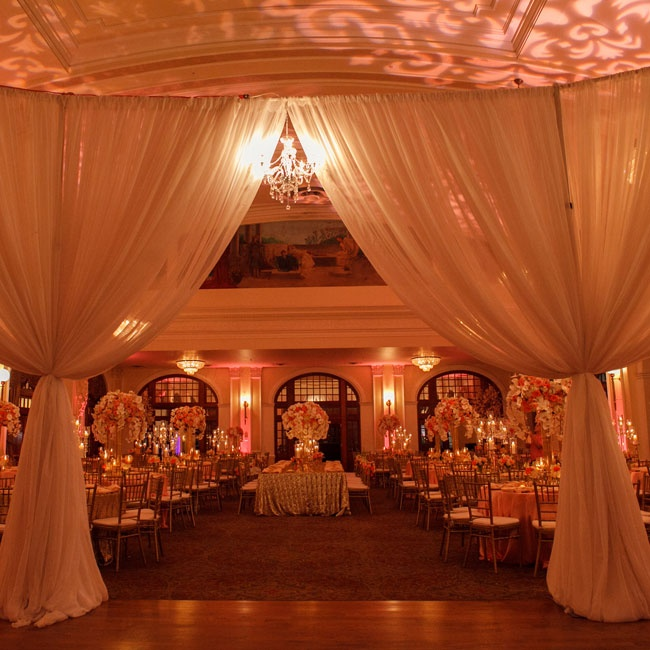 The Ballroom Was Divided By Chiffon Swags, Separating The
