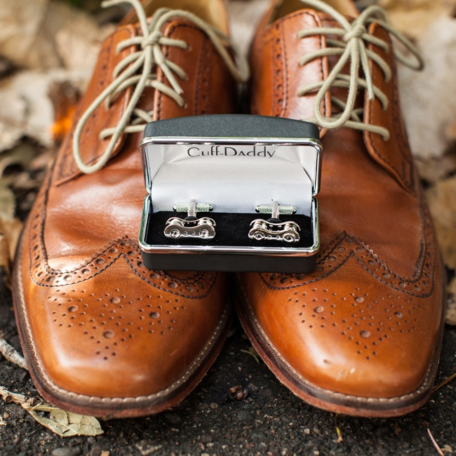 Casey wore these silver cufflinks with his wedding suit and these brown dress shoes.