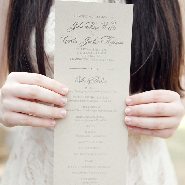 The ceremony programs were a tea length style and printed on oatmeal colored paper.