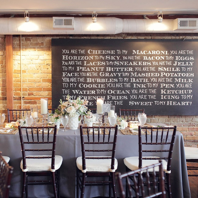 The rustic, urban reception at 128 South was given a chic, romantic makeover with pastel floral arrangements, ivory pillar candles, white accents and pale grayish purple table linens.