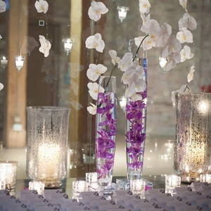 Hanging Orchid and Candle Escort Card Display