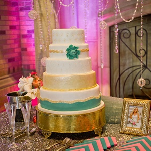 Five Tier Turquoise and Gold Cake
