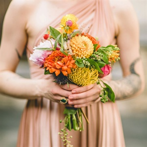 Orange and Yellow Bridesmaid Bouquets
