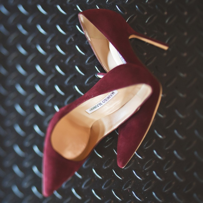 To go with her glamorous gold gown, Elise knew she had to have the right shoes. After months of hunting, she spotted the perfect pair - Manolo Blahnik's BB pumps in a rich shade of burgundy.