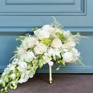 Ivory and Green Cascade Bridal Bouquet