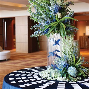 Blue and White Floral Table Display