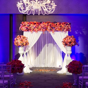 Coral and Purple Huppah Decorations
