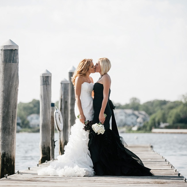 Ashley and Gabby took advantage of the beautiful waterfront location, pausing for photos on a nearby dock.