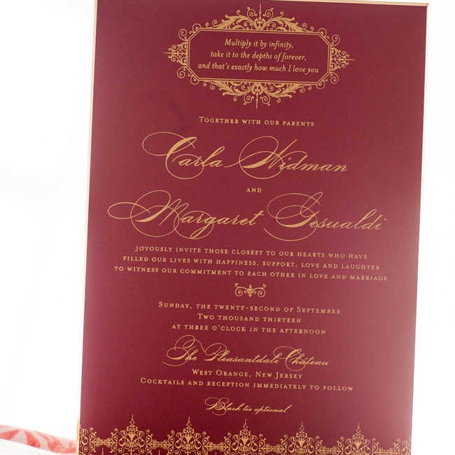 Carla and Margret worked with Paper Works and Events to create their custom designed invitations. The invitations had an old world charm with elegant script typeface and a gold foil rococo pattern.