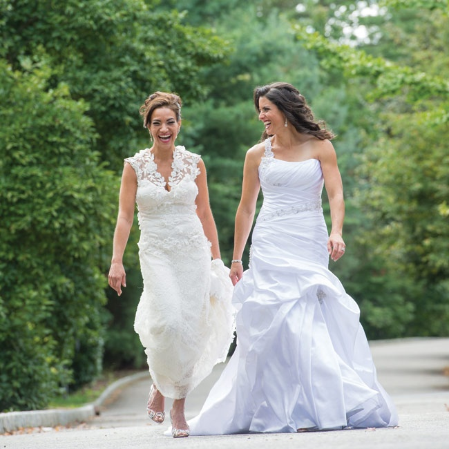 Carla and Margaret each wore two gowns, choosing a classic, elegant look for the ceremony and changing into a fun party dress for the reception. For the ceremony, Margaret wore a couture Claire Pettibone gown in a sheath style with silver guipure and illusion neckline. She changed into an ivory satin Ian Stuart dress for the reception. Claire wore  ...