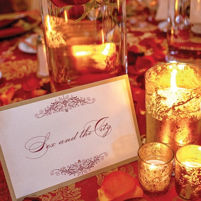 The couple decided to forgo typical table numbers and instead opted for names of places or memories that had special meaning to them. The table name cards were decorated in a similar style to the ceremony programs.