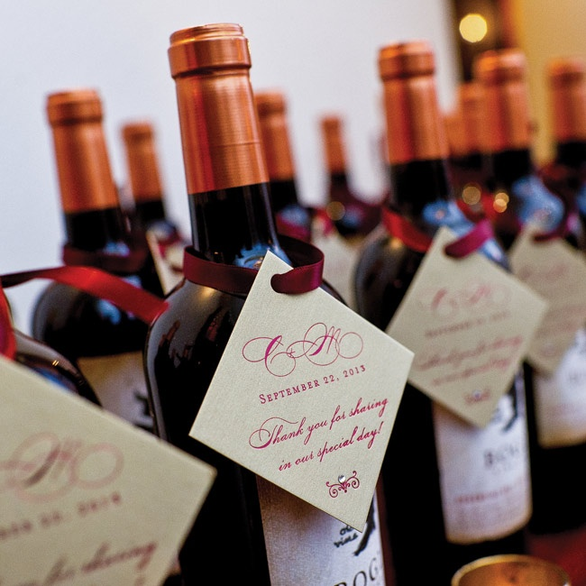 Each guest took home a personalized bottle of red wine as a thank you from the couple.