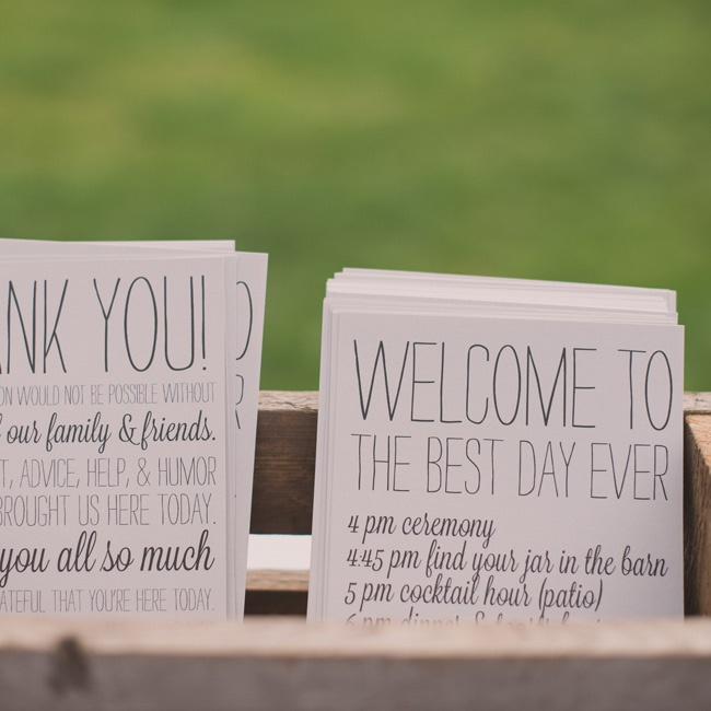 "The ceremony programs had notes to their guests that thanked them and said, ""Welcome to the best day ever."""