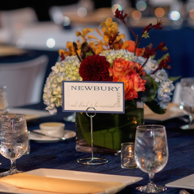 Reception tables were named after different famous streets in Boston.