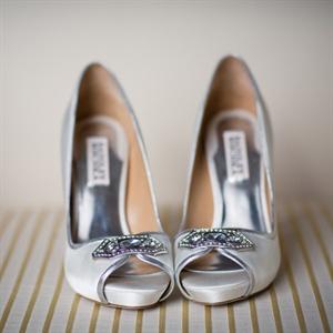 Silver Peep-Toe Bridal Heels