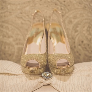 Gold Peep Toe Heels