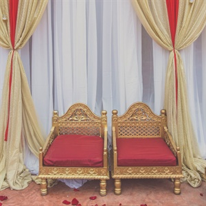 Gold and Red Ceremony Chairs
