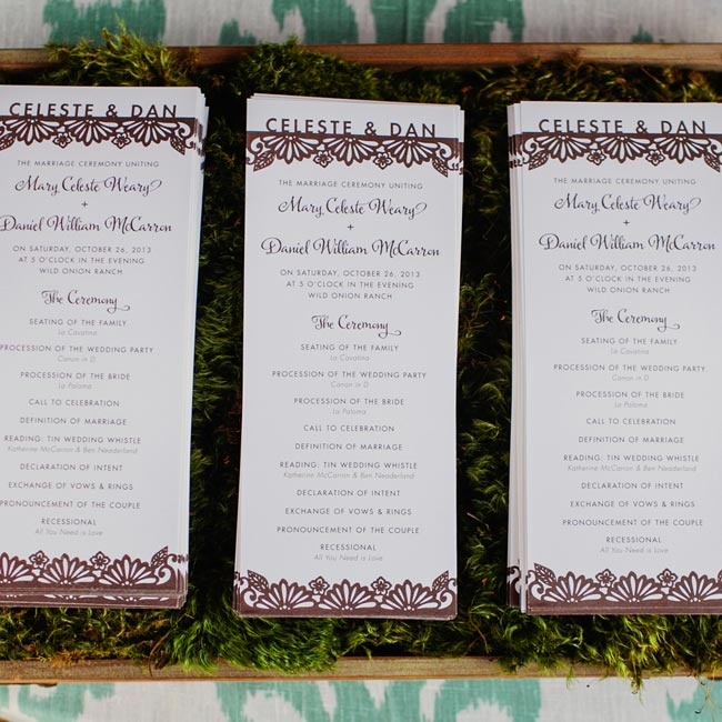 "A local designer created the programs, and incorporated a design that was also used on the menus and signage. ""She created a look that went with the invitation and style, and she did an amazing job,"" Celeste says."