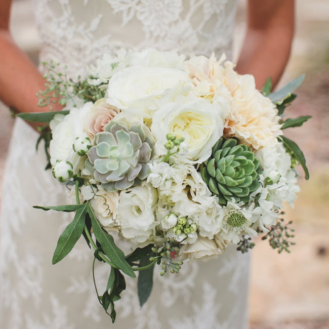 Celeste carried a textured bunch of white garden roses, peonies, hydrangeas, succulents, dahlias and seeded eucalyptus.