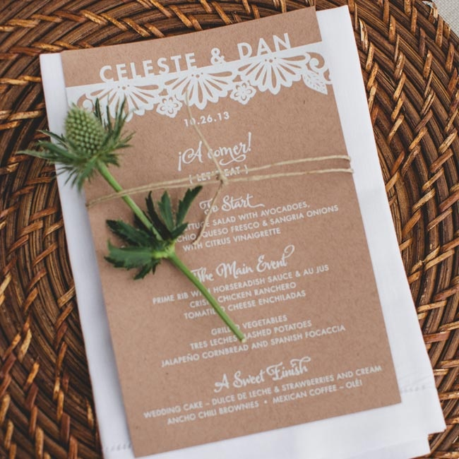 All of the wedding paperwork, including the table name cards and menus, had a coordinated design element that mimicked the papel picado look from the invitations.