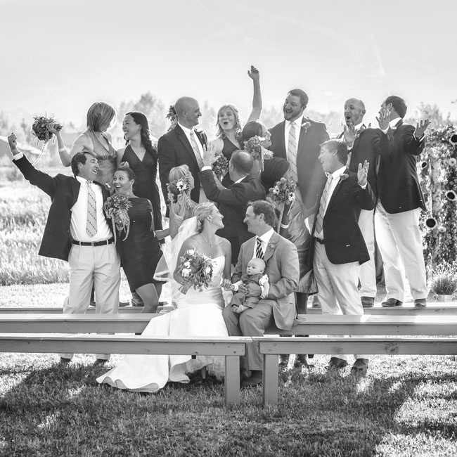 After the ceremony, the bride, groom and wedding party snapped a few energetic pictures.