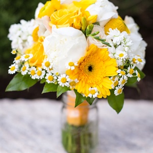 White and Yellow Bridesmaid Bouquet