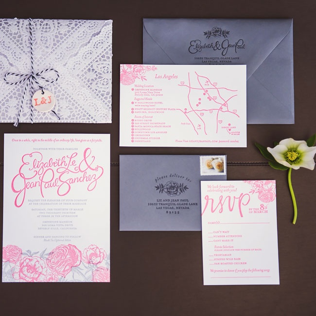 Pink and purple came together in the couple's invitation suite. A unique laser-cut envelope was also included in the package.
