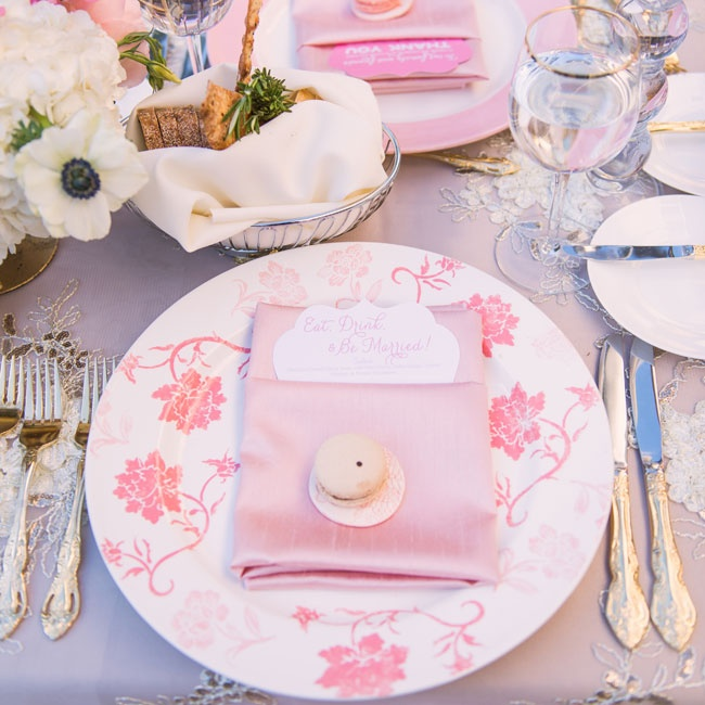 Pink floral china gave the dinner a feminine, garden ambiance.
