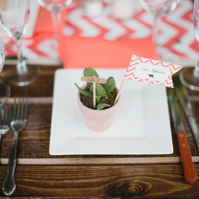 Each guest went home with a personalized potted plant that doubled as their escort card.