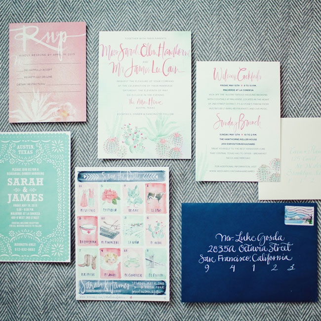 A gorgeous watercolor invitation suite was created by Julie Song. The couple loved the whimsical and highly personalized designs on the save-the-date so much that hey had it framed for their home.
