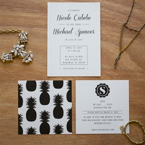 Modern Invitations with Pineapple Motif