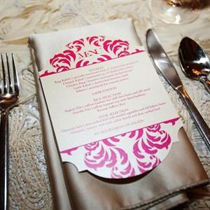 Hot Pink Rococo Menu Cards