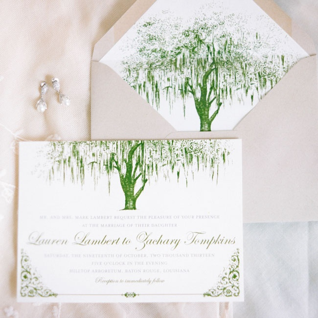 Lauren and Zach's invitations were custom designed with a willow tree motif, elegant script typeface and vintage-inspired border.