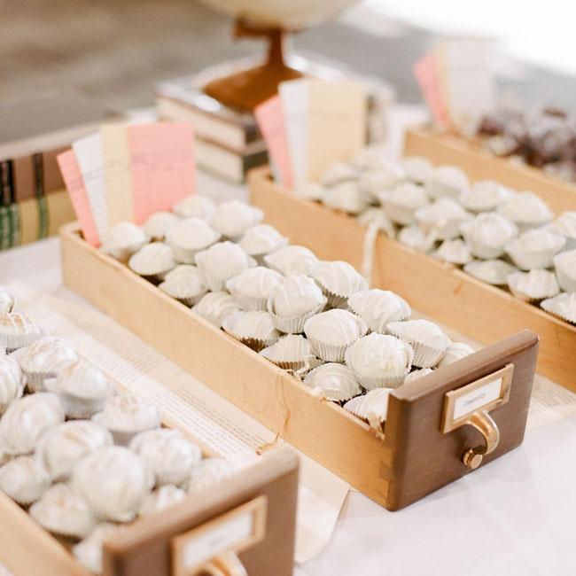 Assorted truffles were displayed in library card drawers for a fun vintage touch.