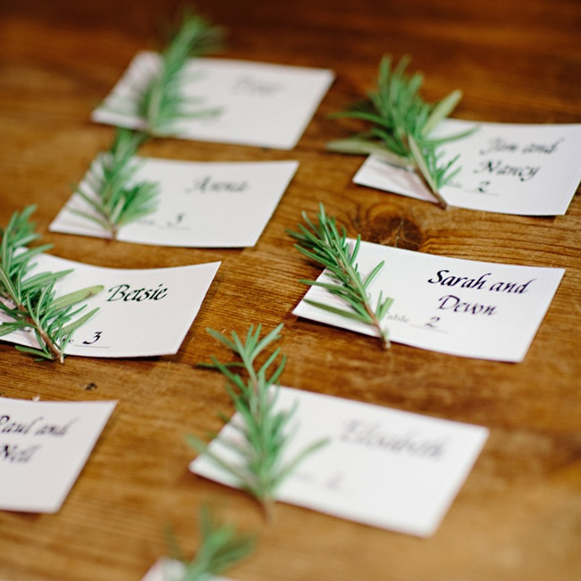Anna's mother made the escort cards, which had sprigs of fresh rosemary attached to each one.