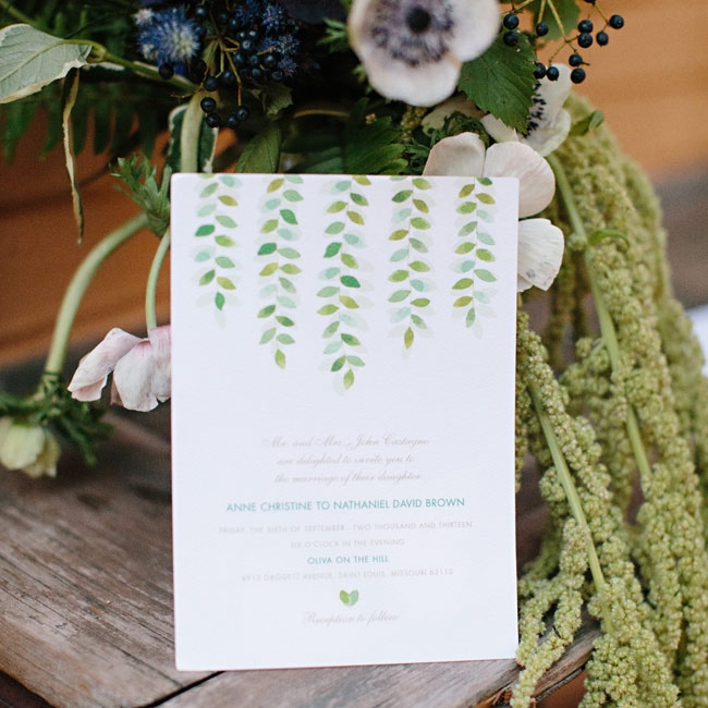 The invitations featured a watercolor willow leaf design, in soothing shades of green and blue.