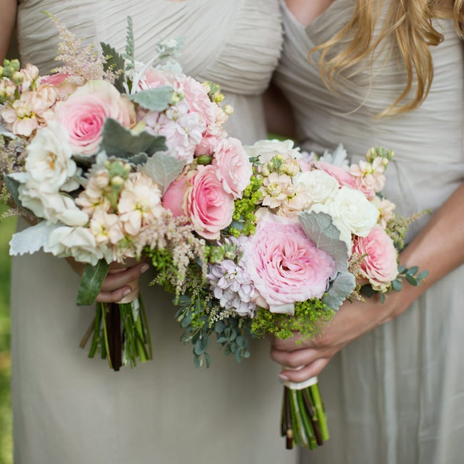 The bridesmaids bouquets were a mix of garden roses, peonies and astilbe flowers.
