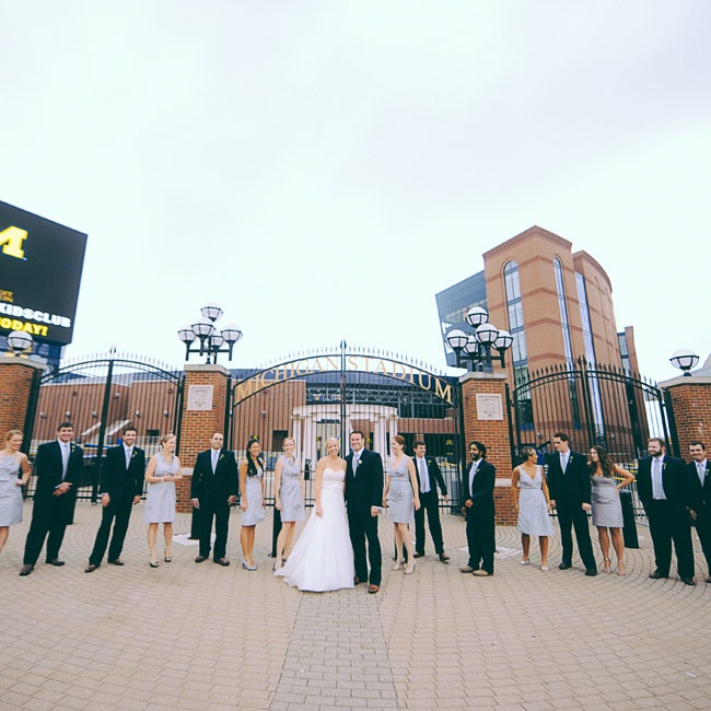 The bridesmaids chose their own style of dress from the J.Crew silk taffeta line, while the groomsmen wore matching navy suits from JoS. A. Bank.