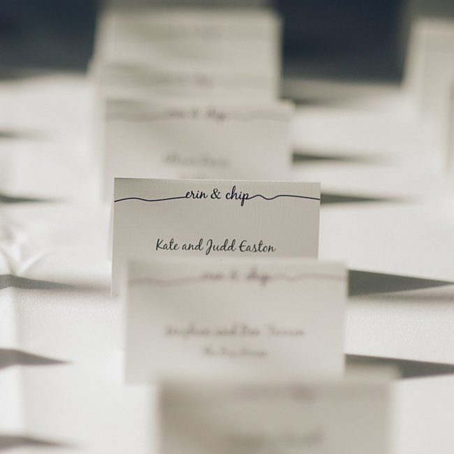 The clean and simple, custom escort cards were ordered from Etsy.