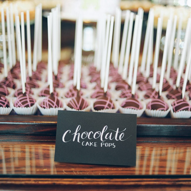 Chocolate cake pops, drizzled with pink icing, were offered as desserts.