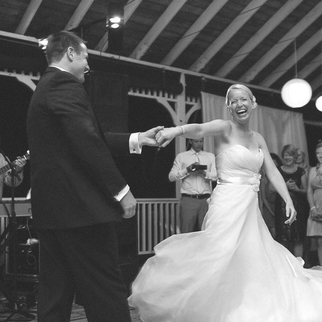 "The couple shared their first dance to ""Bless the Broken Road"" by Rascal Flatts."