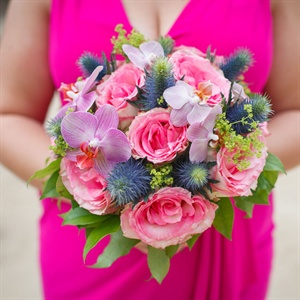 Orchid and Thistle Bridesmaid Bouquet