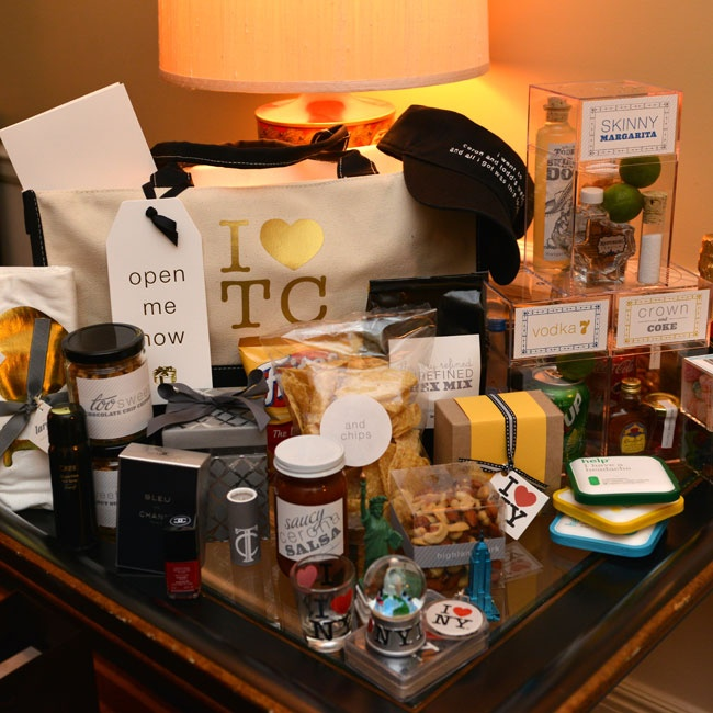"""I [heart] TC"" bags carried goodies for guests including single servings of alcoholic beverages, snacks and NYC paraphernalia."