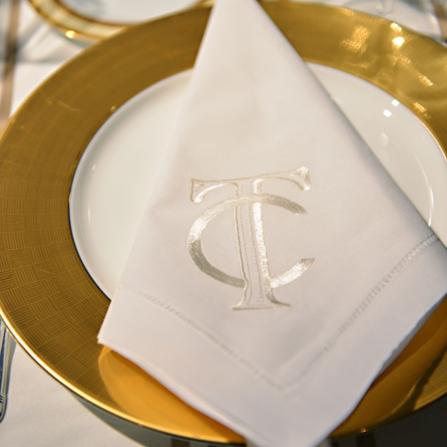 The couple's interlocking monogram appeared throughout the entire weekend on everything from the elegant napkins to the hospitality room's snacks.