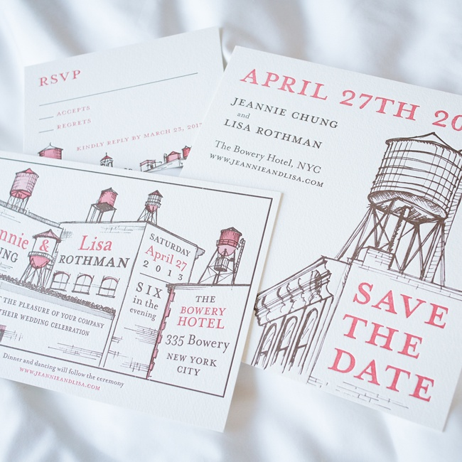 "Graphic save-the-dates introduced the city-inspired motif that appeared on all of the paper elements. ""Some of our happiest memories have been sitting on our roof deck looking out at all the water towers that dot the skyline near us. Our stationer used that as the starting point,"" Jeannie says."