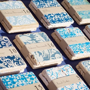 Blue Patterned Escort Cards