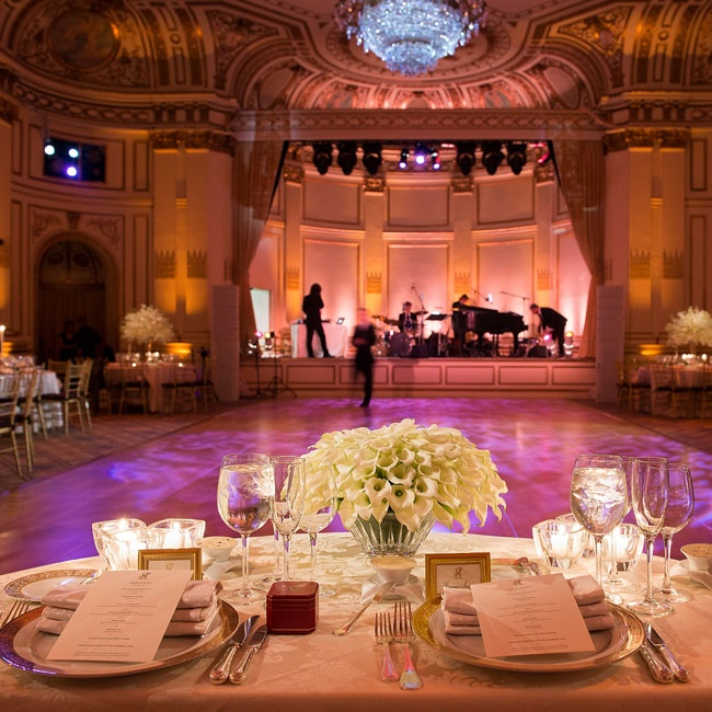 The couple's sweetheart table faced a grand stage where a small jazz band played during the reception.