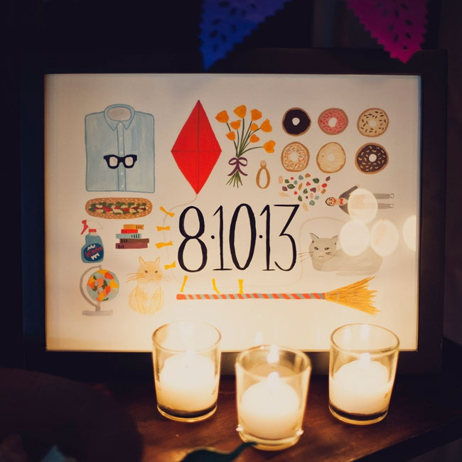 Illustrated save-the-dates set the tone for the whimsical day.