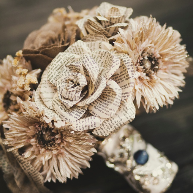 The bouquets were all handcrafted with a mix of blooms made by Meredith from burlap, silk and pages from used paperbacks.