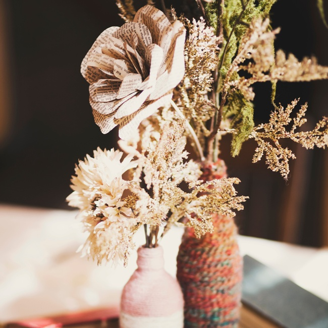 The flowers were paired with another handmade touch: yarn-wrapped bottles.